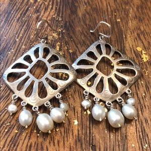 Silpada sterling silver & pearl earrings